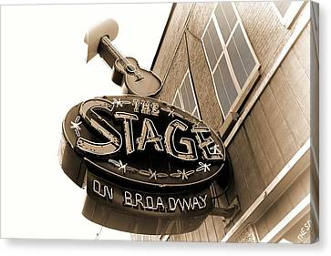 Downtown Nashville Canvas Print - The Stage On Broadway Nashville Tennessee by Dan Sproul