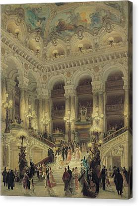 The Staircase Of The Opera Canvas Print by Louis Beroud