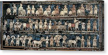 The Standard Of Ur. 2600 -2400 Bc Canvas Print by Everett