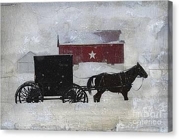The Star Barn In Winter Canvas Print