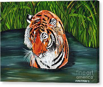 Canvas Print featuring the painting The Stare by Laura Forde