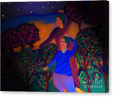 Canvas Print featuring the digital art The Starlight Night by Latha Gokuldas Panicker