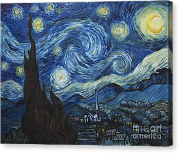The Starry Night - Van Gogh Copy Canvas Print by Troy Wilfong
