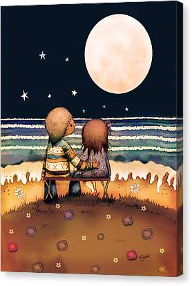 Engagement Canvas Print - The Stars The Moon And The Tide by Karin Taylor