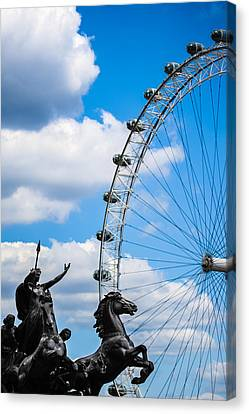 The Statue Of Boadicea Standing In Front Of The London Eye In England Canvas Print by Nila Newsom