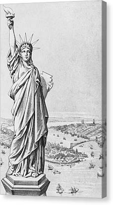 The Statue Of Liberty New York Canvas Print by American School