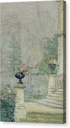 Pedestal Canvas Print - The Steps Of Les Fourneaux At Melun by Henri Rouart