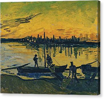 The Stevedores In Arles  Canvas Print by Vincent van Gogh