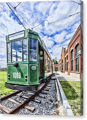 The Stib 1069 Streetcar At The National Capital Trolley Museum I Canvas Print