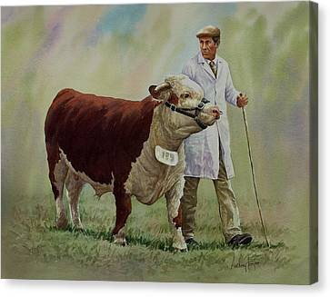 The Stockman And Bull Canvas Print by Anthony Forster