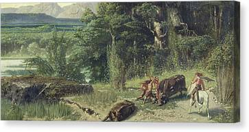 The Stone Age Canvas Print by Octave Penguilly l'Haridon