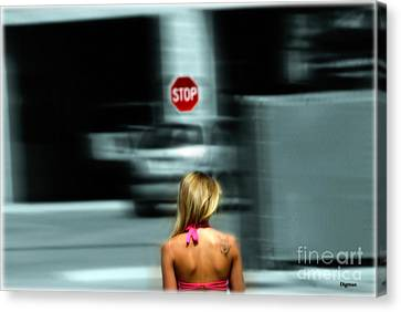 Stop Sign Canvas Print - The Stop Walker  by Steven Digman