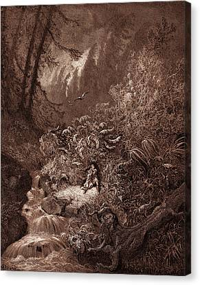 The Storm In The Forest, By Gustave Dore Canvas Print by Litz Collection