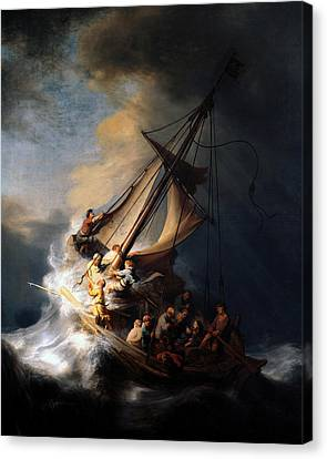 Canvas Print featuring the digital art The Storm On The Sea Of Galilee by Rembrandt
