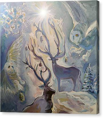 Canvas Print - The Story Of The Owl And Deer by Janet Oh