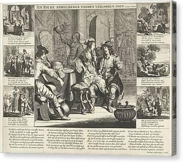 Wine Scene Canvas Print - The Story Of The Prodigal Son, Cornelis Van Dalen by Cornelis Van Dalen (i) And Rombout Van Den Hoeye