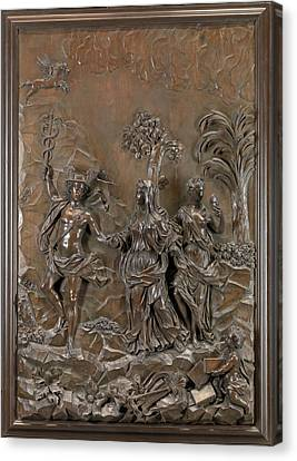 The Stowe Reliefs Mercury Conducting Tragic And Comic Canvas Print by Litz Collection