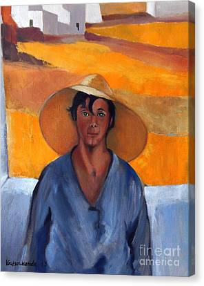 The Straw Hat - After Nikolaos Lytras Canvas Print by Kostas Koutsoukanidis