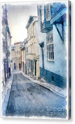 Historic Street Canvas Print - The Streets Of Old Quebec City by Edward Fielding