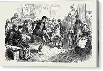 The Strike In South Wales Amusements Of The Colliers Canvas Print by English School