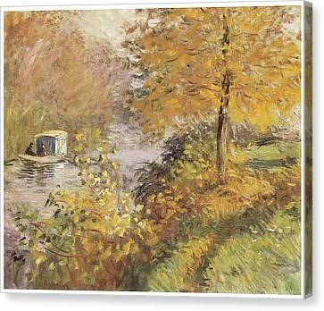 Fall Scenes Canvas Print - The Studio Boat by Claude Monet