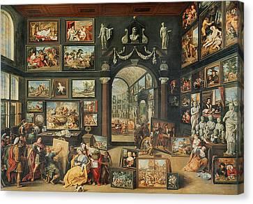 The Studio Of Apelles Oil On Panel Canvas Print by Willem van II Haecht