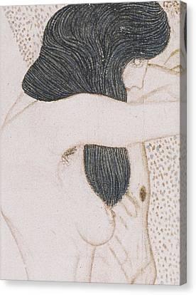 The Suffering Of Weak Humanity Canvas Print by Gustav Klimt