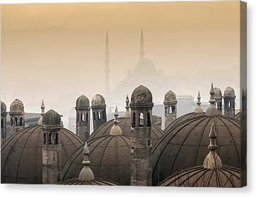 The Suleymaniye Mosque And New Mosque In The Backround Canvas Print by Ayhan Altun