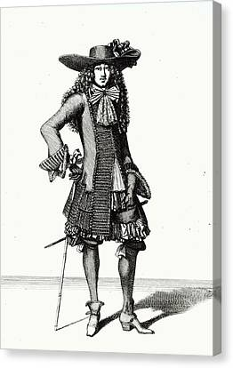 The Summer Sword Dress, 1675 Etching Bw Print Canvas Print by Bonnart