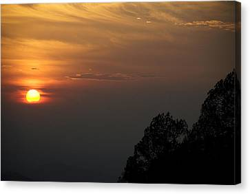 The Sun Behind The Trees Canvas Print by Rajiv Chopra