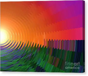 Canvas Print featuring the painting The Sun Drops Into The Horizon by Pet Serrano