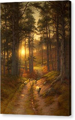 The Sun Fast Sinks In The West Canvas Print by Joseph Farquharson