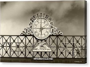 The Sun Orioles Clock - Sepia Canvas Print