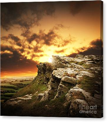 Canvas Print featuring the photograph The Sun Over Mountains by Boon Mee