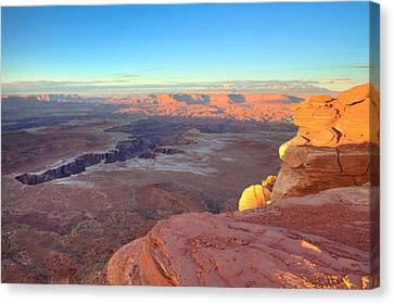 The Sun Sets On Canyonlands National Park In Utah Canvas Print by Alan Vance Ley
