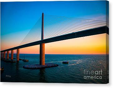 The Sunshine Under The Sunshine Skyway Bridge Canvas Print
