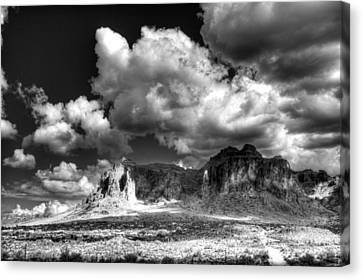 The Superstitions - Black And White  Canvas Print