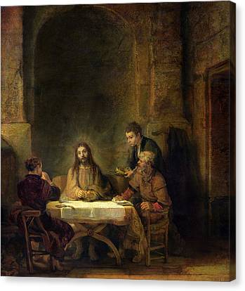 The Supper At Emmaus, 1648 Oil On Panel Canvas Print by Rembrandt Harmensz van Rijn
