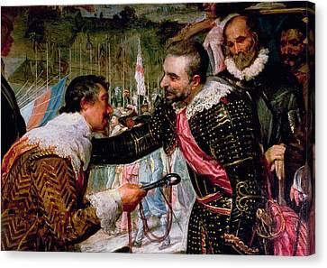 The Surrender Of Breda 1625, Detail Of Justin De Nassau Handing The Keys Over To Ambroise Spinola Canvas Print by Diego Rodriguez de Silva y Velazquez