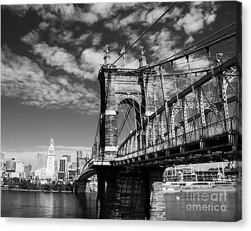 The Suspension Bridge Bw Canvas Print by Mel Steinhauer