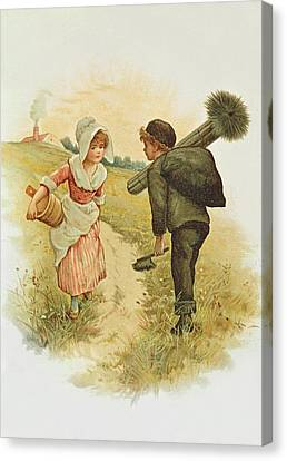 The Sweep And The Milkmaid Book Illustration Canvas Print by Anonymous