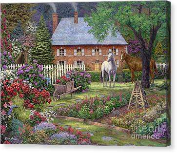Country Cottage Canvas Print - The Sweet Garden by Chuck Pinson