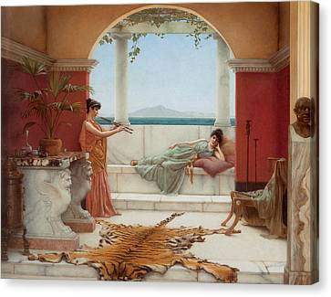 The Sweet Siesta Of A Summer Day Canvas Print by John William Godward