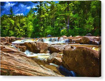 The Swift River Beside The Kancamagus Scenic Byway In New Hampshire Canvas Print by John Haldane