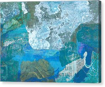 Canvas Print featuring the mixed media The Swimmer by Catherine Redmayne
