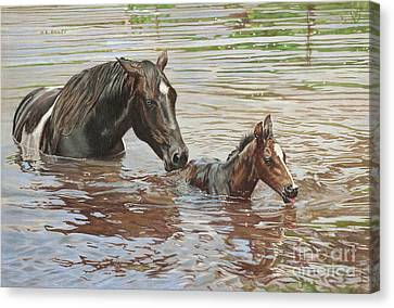 The Swimming Lesson Canvas Print by Helen Bailey