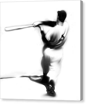 The Swing   Joe Dimaggio Canvas Print by Iconic Images Art Gallery David Pucciarelli
