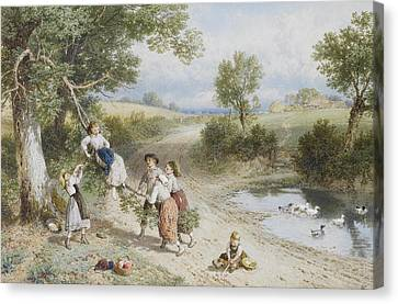 The Swing Canvas Print by Myles Birket Foster