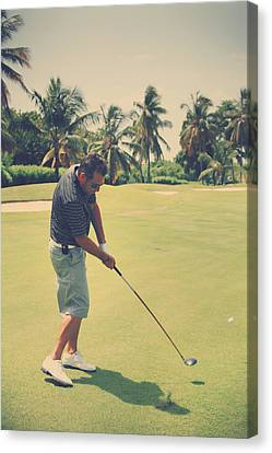 Golf Ball Canvas Print - The Swing Of Things by Laurie Search