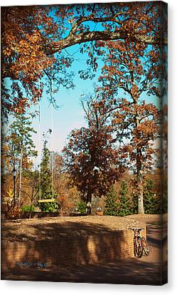 The Swing With Red Bicycle - Davidson College Canvas Print by Paulette B Wright